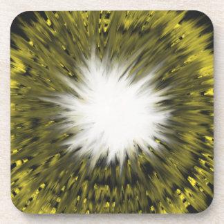Dessous-de-verre Peinture blanche jaune d'art abstrait de Starburst