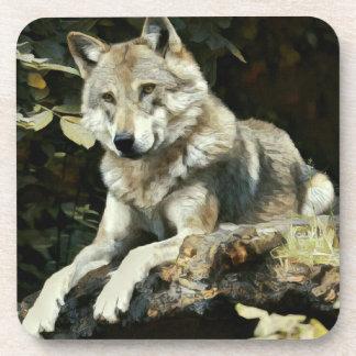 Dessous-de-verre Peinture de loup de bois de construction