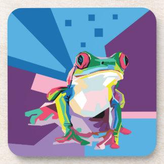 Dessous-de-verre Portrait coloré de grenouille d'arbre