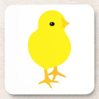Dessous-de-verre Poussin jaune curieux