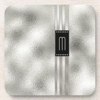 Dessous-de-verre Rayures en métal sur le monogramme en verre ID443