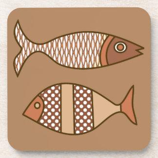 Dessous-de-verre Rétros poissons modernes, Tan, beige et brun clair