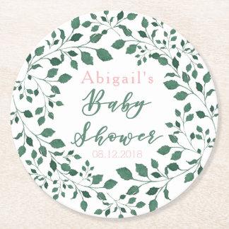 Dessous-de-verre Rond En Papier Baby shower personnalisé par   vert de guirlande
