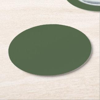 Dessous-de-verre Rond En Papier Couleur solide de Forest Green