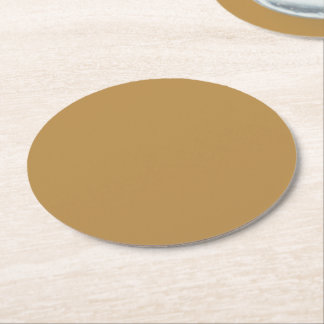Dessous-de-verre Rond En Papier Couleur solide de miel de Brown