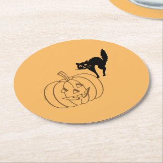 Dessous-de-verre Rond En Papier Dessous de verre de papier - citrouille et chat