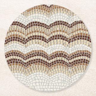 Dessous-de-verre Rond En Papier Dessous de verre ronds de mosaïque beige
