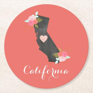 Dessous-de-verre Rond En Papier État fait sur commande de la Californie de couleur