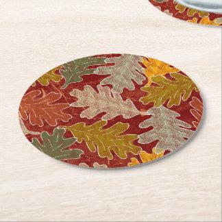 Dessous-de-verre Rond En Papier Feuille de chêne d'automne