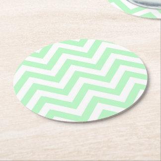 Dessous-de-verre Rond En Papier Grand motif de zigzag blanc en bon état de Chevron