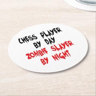 Dessous-de-verre Rond En Papier Joueur d'échecs de tueur de zombi