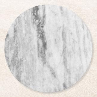 Dessous-de-verre Rond En Papier Motif de marbre blanc et gris de texture