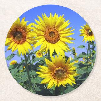 Dessous-de-verre Rond En Papier Noce jaune florale de bleu de fleur de tournesol