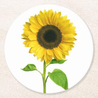Dessous-de-verre Rond En Papier Noce jaune florale de fleur de tournesol