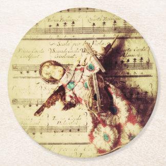 Dessous-de-verre Rond En Papier Ornement vintage d'ange sur la musique