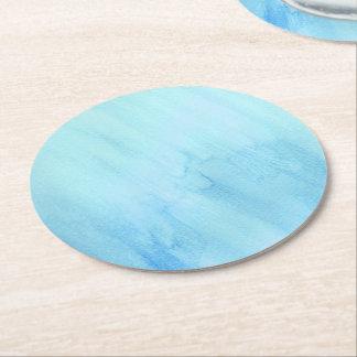 Dessous-de-verre Rond En Papier Peinture bleue d'aquarelle de précipitation