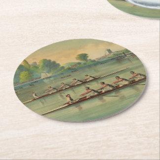 Dessous-de-verre Rond En Papier Régate vintage de course d'équipage de rameurs