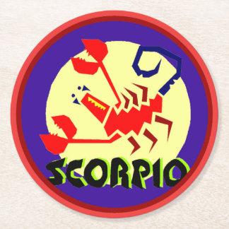 Dessous-de-verre Rond En Papier Scorpion Coastera rond de signe d'horoscope