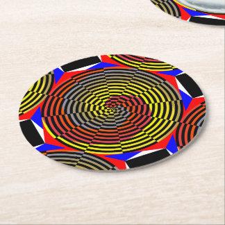 Dessous-de-verre Rond En Papier Spirale bleue jaune rouge