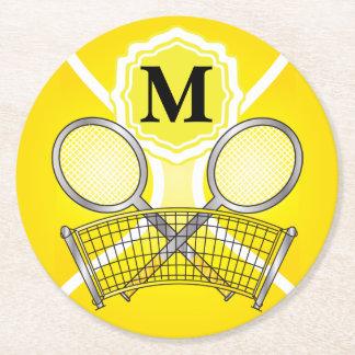 Dessous-de-verre Rond En Papier Tennis jaune de monogramme