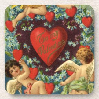 Dessous-de-verre Saint-Valentin vintage, coeurs victoriens d'anges