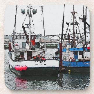 Dessous-de-verre Style côtier d'aquarelle de bateaux de pêche
