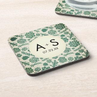 Dessous-de-verre Succulents verts dans le monogramme naturel de