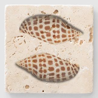 Dessous de verre tropicaux de coquillages de dessous-de-verre en pierre