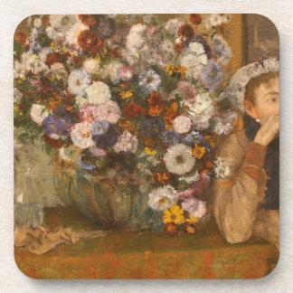 Dessous-de-verre Une femme assise près d'un vase de fleurs dégazent