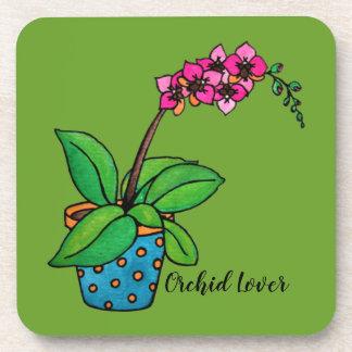 Dessous-de-verre Usine d'orchidée d'aquarelle dans le beau pot