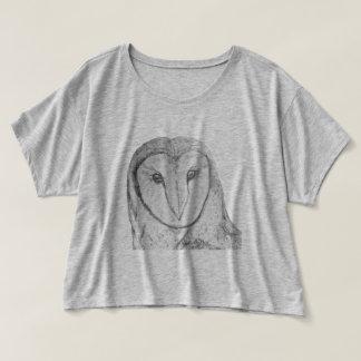Dessus de culture de Flowy de hibou de grange T-shirt