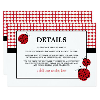 Détail de fête d'anniversaire des enfants rouges carton d'invitation  11,43 cm x 15,87 cm