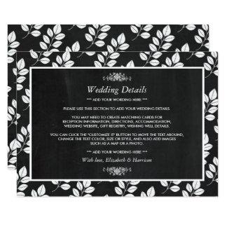 Détail de mariage de feuille florale de tableau carton d'invitation  11,43 cm x 15,87 cm