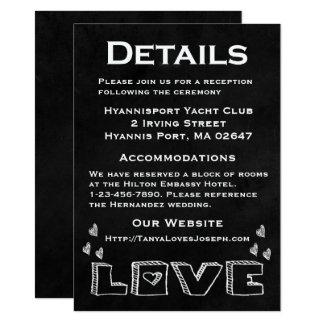 Détails/directions blancs de coeurs de tableau carton d'invitation  11,43 cm x 15,87 cm