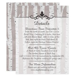 Détails/directions rustiques de mariage d'arbre de carton d'invitation 10,79 cm x 13,97 cm