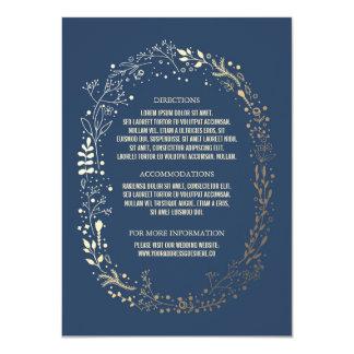Détails floraux de mariage de guirlande d'or et de carton d'invitation  11,43 cm x 15,87 cm