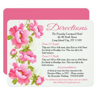 Détails floraux/fleur rose pivoine de directions carton d'invitation 10,79 cm x 13,97 cm