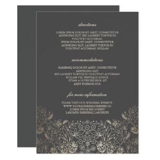 Détails gris floraux de mariage d'or - carton d'invitation  11,43 cm x 15,87 cm