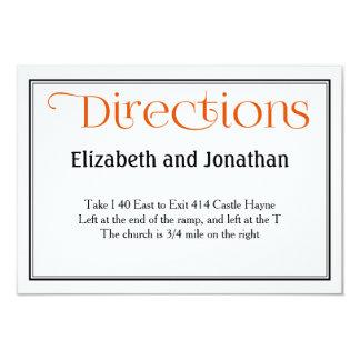 Détails oranges et blancs de directions de mariage carton d'invitation 8,89 cm x 12,70 cm