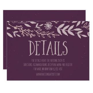 Détails pourpres floraux rustiques de mariage carton d'invitation 8,89 cm x 12,70 cm