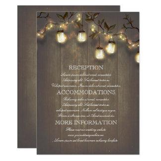 Détails rustiques de mariage campagnard de carton d'invitation  11,43 cm x 15,87 cm