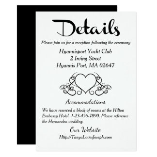 Détails vintages de coeurs/directions noirs et carton d'invitation  11,43 cm x 15,87 cm