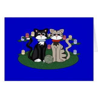 Deux chats carte de vœux