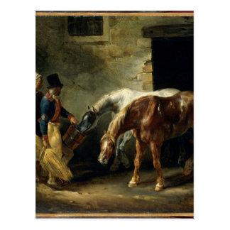 Deux courrier-chevaux à l'écurie par Theodore Carte Postale