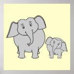 Deux éléphants. Adulte et bande dessinée mignons d Posters