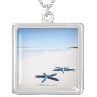 Deux étoiles de mer bleues au bord de l'eau sur 2 collier