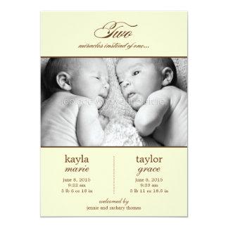 Deux faire-part de naissance de jumeaux de