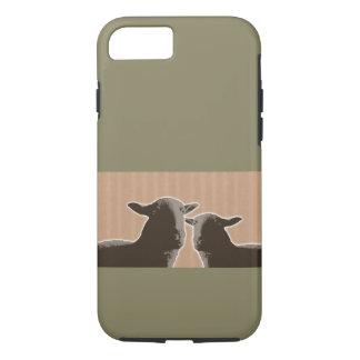 Deux moutons noirs sur l'arrière - plan bronzage coque iPhone 8/7