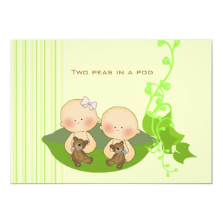 Deux pois dans une naissance Annoucement de cosse Carton D'invitation 12,7 Cm X 17,78 Cm
