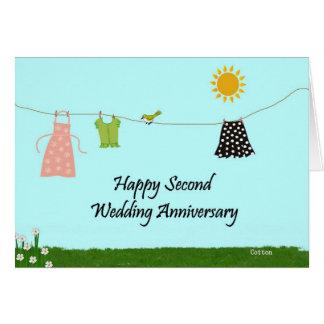 Deuxième anniversaire de mariage heureux carte de vœux